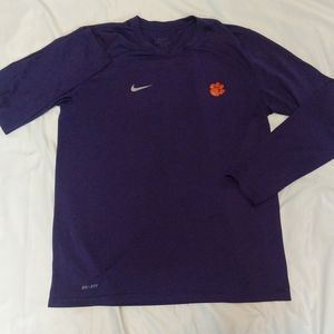Nike Dri-FIT L Long Sleeve Purple Clemson Shirt